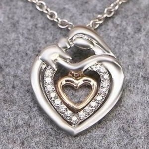 Jewelry - Two Tone Double Heart Crystal Pendant